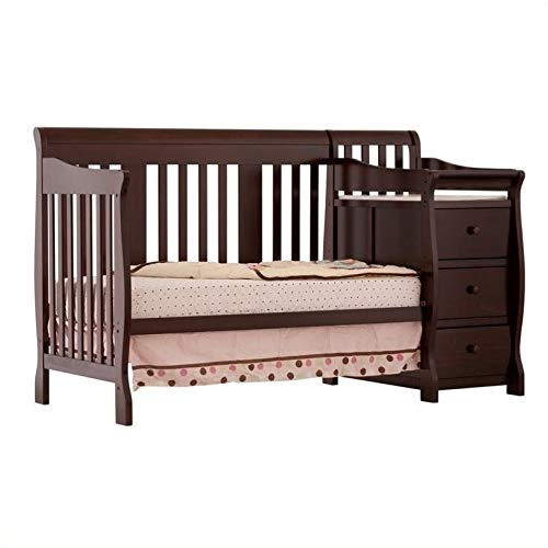 Pemberly Row 4-in-1 Convertible Crib and Changing Table Combo in Espresso - Easily Converts to Toddler Bed Day Bed or Full Bed Adjustable Mattress Height