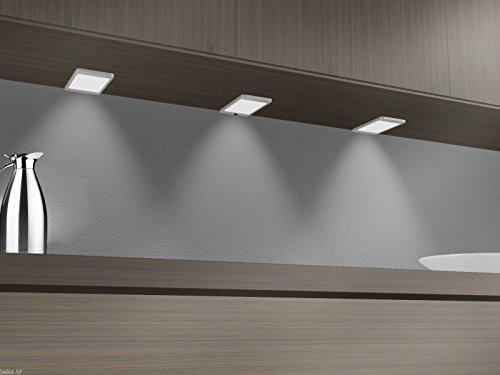 LED Unterbauleuchte 6Watt SET Sensor Küchenleuchte Einbauspot Einbaustrahler, Lichtfarbe:warmweiß, Setgröße:3er SET, Auswahl:mit Sensor