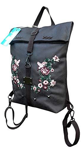 Damen Ausgefallene Handtasche mit Muster.Foldover bag.Braune Schultertasche mit Rücksackfunktion. Rücksack mit gestickter Sakura
