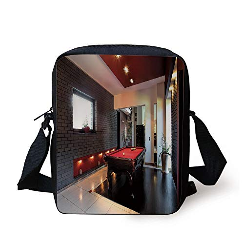 FAFANIQ Modern Decor,House with Snooker Table Hobby Pool Game Flat Furniture Leisure Time Print,Red Brown White Print Kids Crossbody Messenger Bag Purse