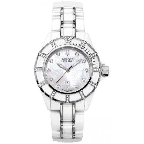 Bulova Accutron Ladies' Mirador White Ceramic Diamond Bracelet Watch- 65R137