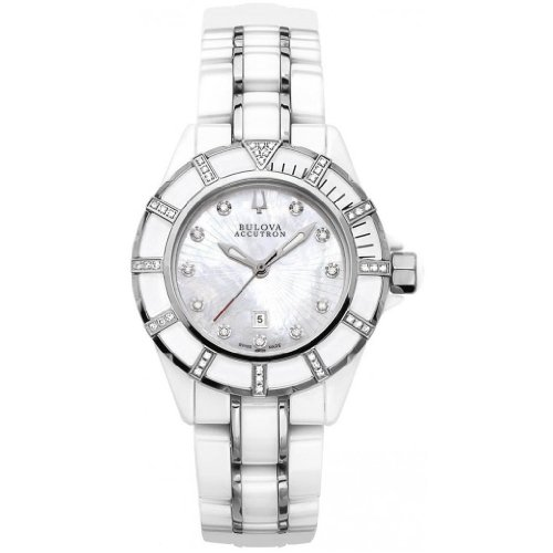 Bulova Accutron Ladies' Mirador White Ceramic Diamond Bracelet Watch- 65R137