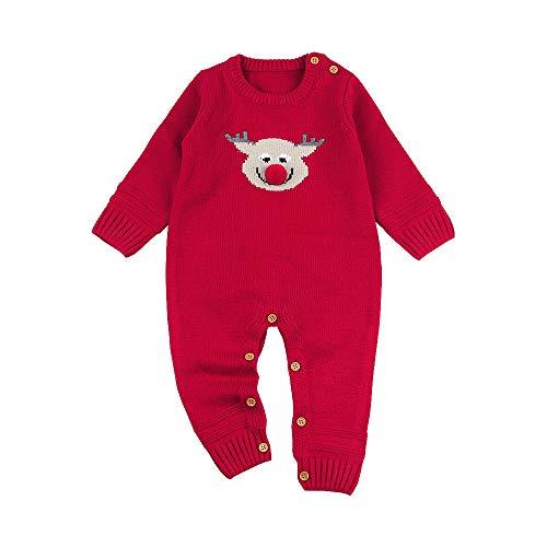 MIRRAY Weihnachten Neugeborenen Baby Langarm Cartoon Gestrickte Strampler Overall Tuch