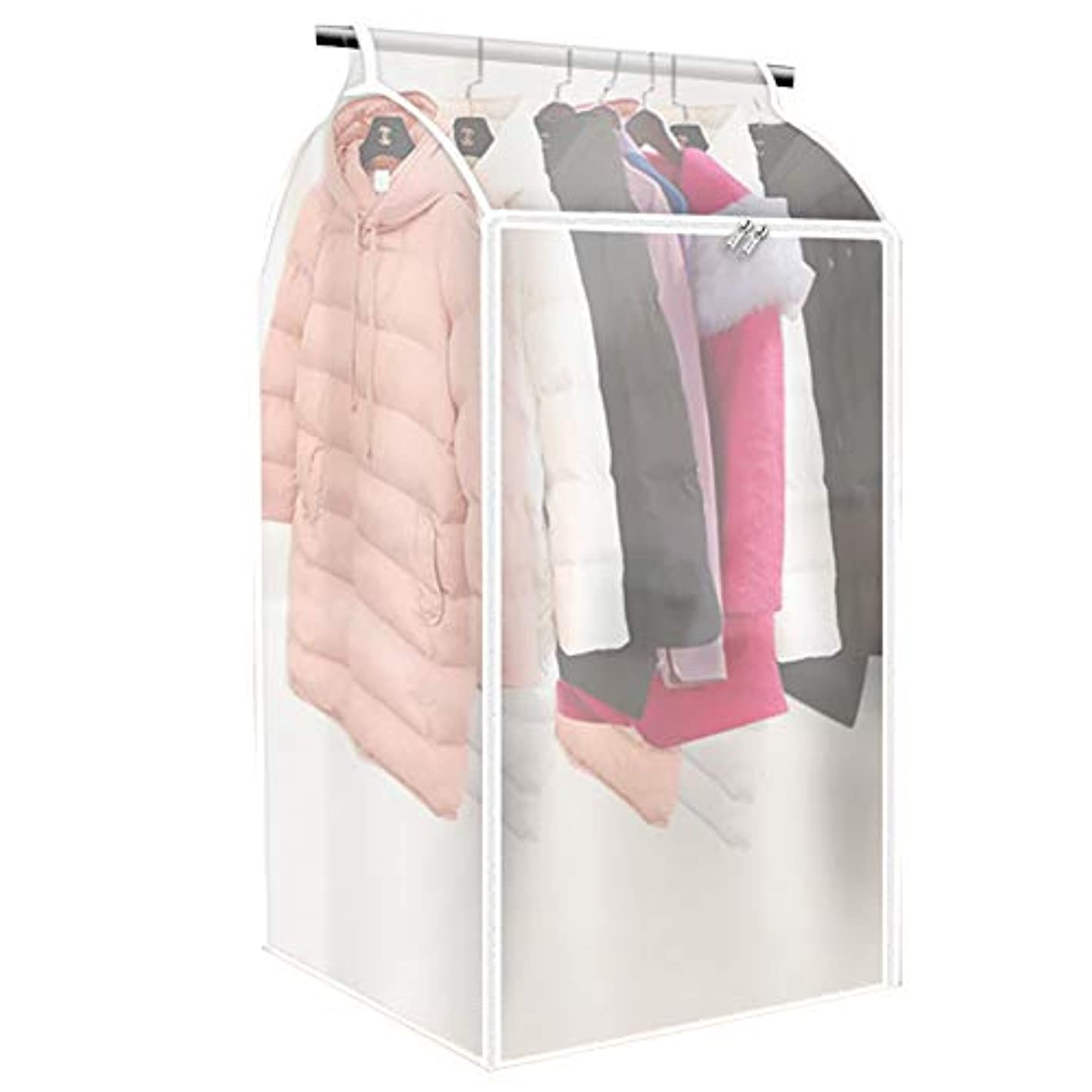 Large Transparent Garment Storage Bag, Jumbo Garment Cover Protector, Clothing Closet Storage Organizer, Dustproof & Waterproof PEVA Wardrobe with Full Zipper(L: 20