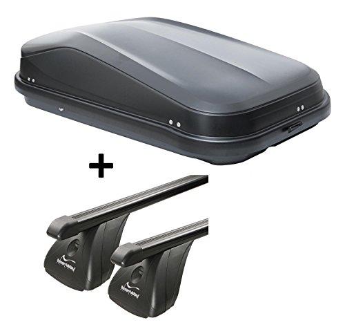 VDP Coffre de toit jueasy320 320ltr Noir brillant verrouillable acier + barres de toit Aurilis pour BMW Série 5 (E60) (4türer) 2003–2010