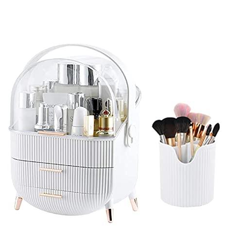 ZHBH Organizador de Maquillaje cosmético Grande con cajones y Organizador de cepillos, Vitrina de Almacenamiento de cosméticos a Prueba de Agua, Adecuado para tocador de tocador de Dormitorio de