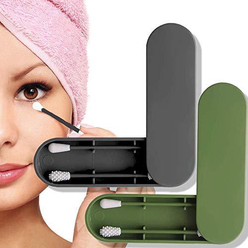 Xinstroe 4 Boxen wiederverwendbare Silikon-Tupfer doppelseitig umweltfreundliche Ohr-Plektren kosmetische Knospe-Stick mit Aufbewahrungskoffer