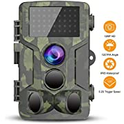 Trail Game Camera Hunting Scouting Cam 1080P Waterproof Wildlife Monitoring with 120° Detection with 0.3s Trigger Speed Motion Activated Night Vision for Outdoor Surveillance and Home Security