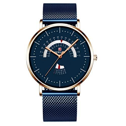 JCCOZ-URG Reloj Redondo para Hombres Lujo Impermeable de Acero Inoxidable Malla de Malla Reloj Menaje de Moda Fecha de Reloj Reloj Chico URG (Color : Leather Blue)