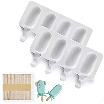 Popsicle Molds 2 Pack Cake Pop Molds Silicone 4 Cavities Homemade Cakesicle Molds Silicone Ice Pop Molds Oval with 50 Wooden Sticks for DIY Ice Cream