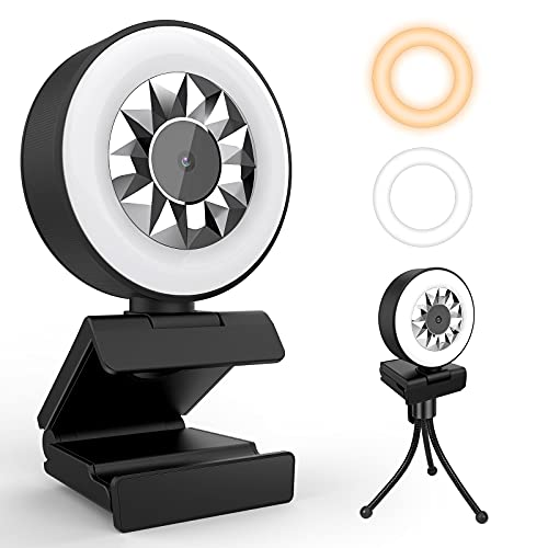 QIBOX 1080P Webcam with Microphone and Ring Light, Adjustable 2-Color Light Brightness, Plug and Play, HD Web Camera for Laptop, MacBook, PC, Streaming Webcam for Zoom, YouTube, Skype