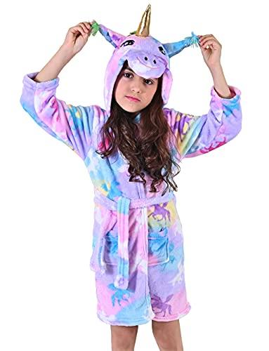 Ksnnrsng Suave Unicornio Albornoz con Capucha Ropa de Dormir- para Niñas (Unicornio estrella, 6-7 Años)