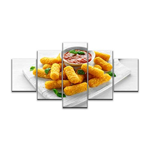 XEPPO 5 Panels Wall Art Print On Canvas Breaded Mozzarella Cheese Sticks with Tomato Basil Sauce Breaded Modern Abstract Picture Poster for Home Decor Stretched and Framed Ready to Hang (60''Wx32''H)