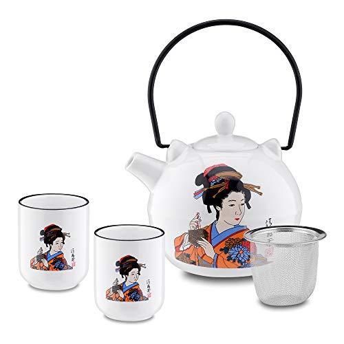 Panbado Juego de Té de Porcelana Japonesa, Incluye 1 Tetera de 700 ml con 2 Tazas de Té de 150 ml y Colador de Té de Acero Inoxidable, Decoración Kabuki