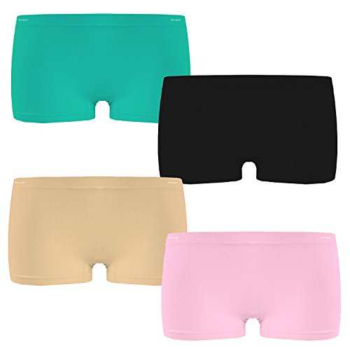 Bongual 4-6 Damen Boxershorts Panty Hotpants Microfaser Sport Unterhose Sportpanty Basics (S/M, VAR.1)