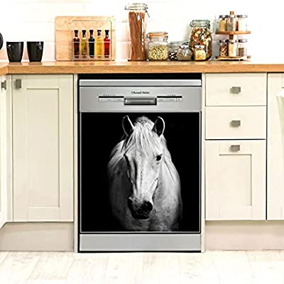 Personalized White Horse Animal Dishwasher Cover Full Size Decorative Kitchen Dishwasher Sticker Easily Trimmable For Housewife, Mother Father Day