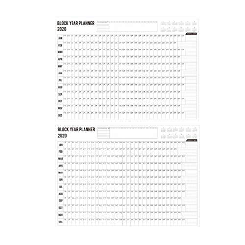 Wakauto 2 Stks Wandplanner Kalender Blok Jaar Schedule Herinneren Praktische Efficentie Planten Papier Maandelijkse…