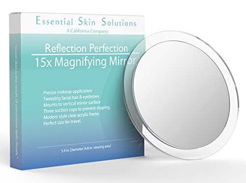 Essential Skin Solutions 15X Magnifying Mirror – Use for Makeup Application - Tweezing – and Blackhead/Blemish Removal – 6 Inch Round Mirror with Three Suction Cups for Easy Mounting
