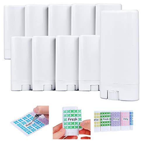 Contenedores de desodorante (10x) – Vacíos – 0.5 Oz / 15ml – Pegatinas Para Escribir – Mecanismo Giratorio y Tapa – Contenedores de Cosméticos Rellenables para Desodorante, Bálsamo Labial, Jabón, etc.