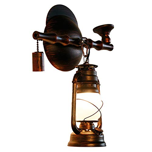 XJAN Industrielle Wandlampe, Schmiedeeisen Wandleuchten Antik Pferd Lampe Petroleum Retro Mattglas Lampenschirme, 27 Base, 220V, Sweep rot