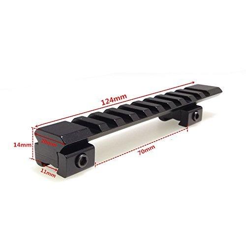 FIRECLUB AR Convertisseur de montants 12,4 cm 11 mm queue d'aronde vers 20 mm Picatinny Weaver Mount Adaptateur 10 emplacements 124 mm