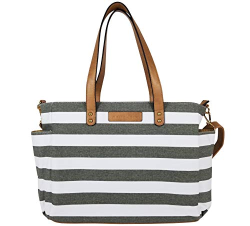 The Aquila (New Edition) Tote Bag by White Elm | Gray, Black or Navy Blue Stripes/Gray or Black Buffalo Check (Gray)