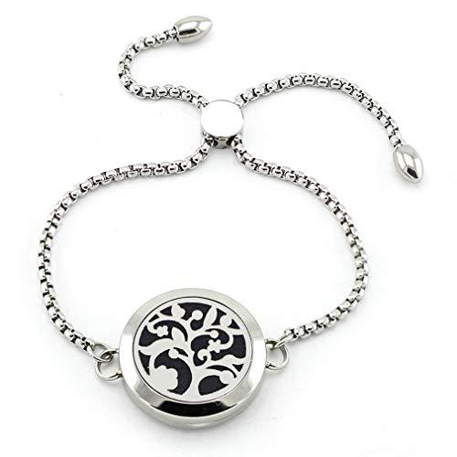 JOYMIAO Essential Oil Diffuser Bracelet,25mm Diffuser Locket Chain Bracelet,Stainless Steel Bracelet Set with 8 Pads,Adjustable Bracelet Jewelry Gift for Women Girl Men Boy Kid
