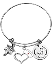 Nurse Bangle Bracelet Nurse Gifts for Women Men RN Charm Jewelry Nursing Prayer Bracelet RN Gifts for Nurses Christmas Birthday Graduation Retirement Jewelry Nurses Care, Respect, Love Bangles