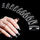 500 punte per unghie in acrilico, per unghie finte chiare, a copertura completa, da donna (10 misure)