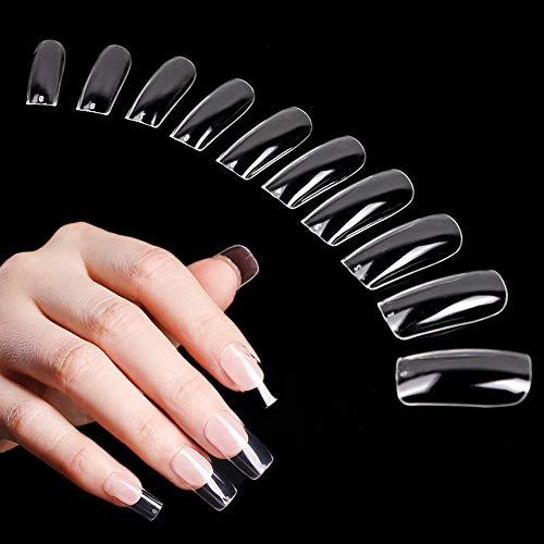 500 puntas de uñas postizas transparentes para uñas acrílicas, puntas de extensión de uñas postizas de cubierta completa, puntas de acrílico cuadradas, 10 tamaños
