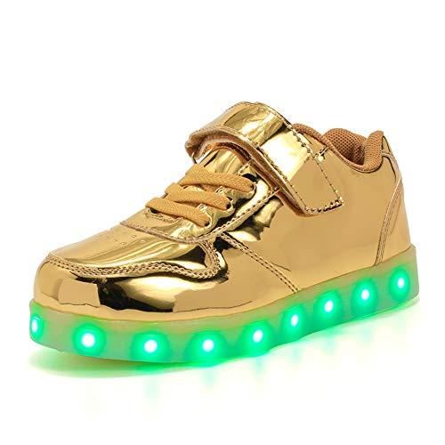 zicai LED Kinderschuhe Jungen Mädchen Schuhe Antirutsch Luftdurchlässig Verstellbar 7 Farben USB Aufladbare Sneaker Leuchtschuhe Turnschuhe (25 EU, Golden)