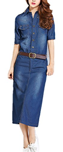 Foluton Damen Elegant Jeanskleid V-Ausschnitt Revers Lang Hemd Kleider Blusekleid Denim Dress Party Cocktail Abendkleid mit Gürtel