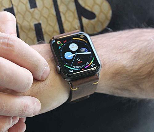 Meridio Old Brown - Correa para Apple Watch de piel de becerro marrón con acabados de algodón color mostaza, 100% fabricada en Italia, 44, aluminio, plata