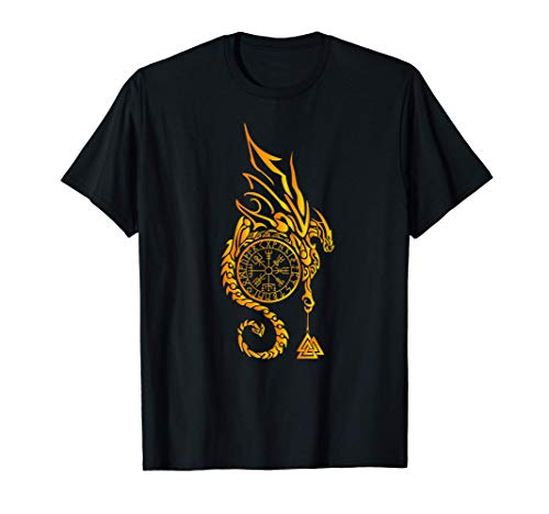 Celtic Dragon Viking Vegvisir Compass Rune Nordic Symbol T-Shirt