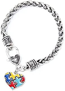 Qieeee Autism Awareness Classic Bracelets with Colored Puzzle Jigsaw Puzzle Pendant for Autistic Children OCD ADHD ADD - Love