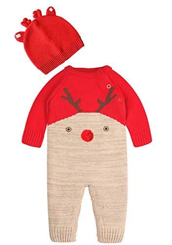 ZOEREA Bebé Niñas Niños Mameluco Navidad Mono Algodón Conjunto de Ropa con Gorra Manga Larga de Ciervo Hecho Punto Cálido Suéter Onesie