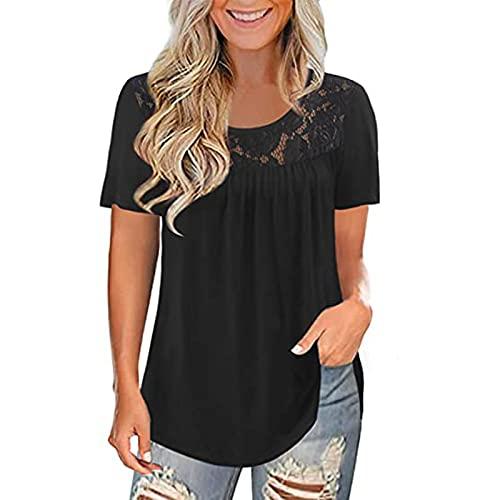 Blusa de verano para mujer, cuello redondo, encaje, patchwork, manga corta, blusa crujiente, blusa de verano, moderna y holgada Negro XXL