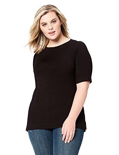 Daily Ritual Women's Plus Size Rib Knit Jersey Elbow-Sleeve Boat Neck Shirt, 6X, Black