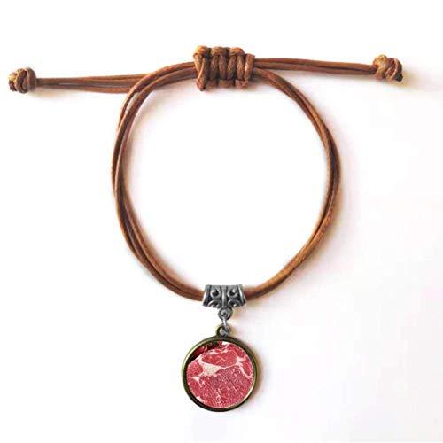 DIYthinker Pulseira de couro com textura de carne crua de carne vermelha pulseira de couro marrom joia presente