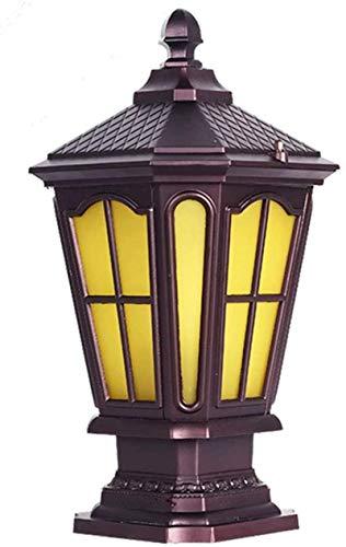 QIQIZHANG Lámpara de Pared Retro Aplique, Columna Vintage Luz Impermeable IP44 E27 Café Oro Retro Lámpara de Cristal Cuadrada Sockelleuchte Post Lamp Luz Al Aire Luz Rústico Lámpara de Pared Columna