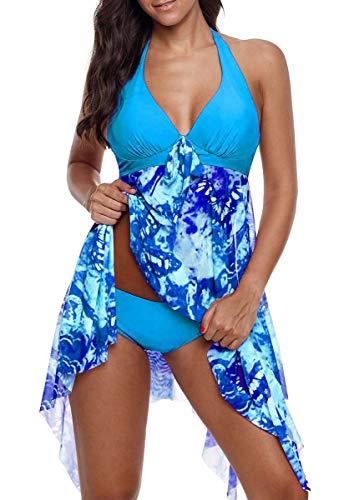 CIZEUR Tankini Damen Bauchweg Große Größen mit Short Badeanzug Blumendruck Push up Beachwear Swim Kleid Elegante L Hellblau