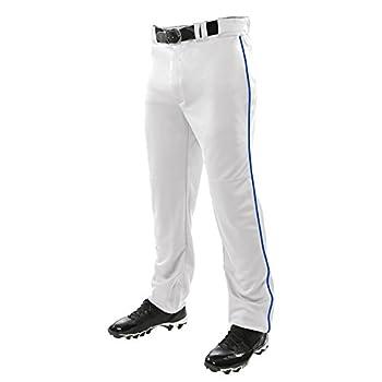 CHAMPRO Sports Adult Triple Crown Open Bottom Pants White Royal Piping Medium