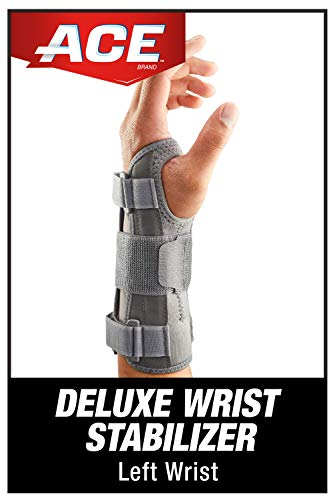ACE-MI205276 Deluxe Wrist Stabilizer, Left Hand, Helps Relieve Symptoms of Carpal Tunnel Syndrome, Adjustable, Stabilizing, Firm Support, Professional,Gray,5.5-9 Inch (Pack of 1)