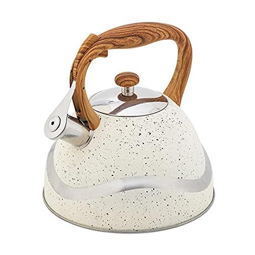 QinWenYan Hervidor Silbido Hervidor de silbido de 3.5L con Mango de Grano de Madera a Prueba de Calor Mingyin Coffee Tea Tetera Botella de Agua para Casa (Color : White, Size : One Size)