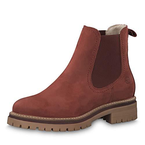 Tamaris Damen Stiefeletten 25474-23, Frauen Chelsea Boots, Freizeit leger Stiefel halbstiefel Stiefelette Bootie Schlupfstiefel,Brick,38 EU / 5 UK