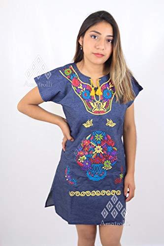 Vestido Mini Blusón de Mezclilla con Bordado Típico Mexicano
