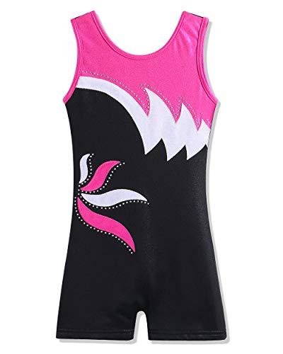 Leotard - Pantalones cortos de gimnasia para niña, diseño de diamantes, para bailar, para niños,  negro, rosado (black hotpink), 6-7 Años
