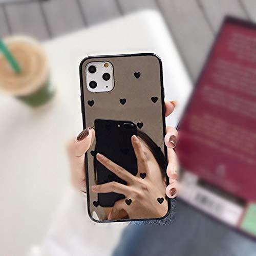 AAA&LIU Lovely Heart Kickstand Phone Cover Case para iPhone 11 Pro XS MAX XR X 8 7 6 6S Plus Glitter Mirror Cases Coque para iPhone 11 Pro, E, para iPhone 7