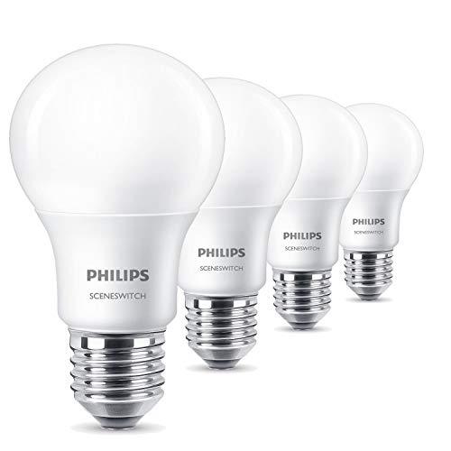Philips 3-in-1 LED Lampe SceneSwitch ersetzt 60W, EEK A+, E27, Matt (4er-Pack)