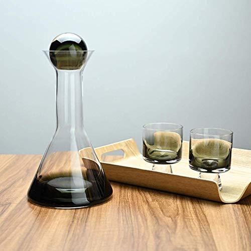 Decantador de whisky Decantador de vinos, garra de vino tinto de cristal de cristal degradado de humo con 2 gafas creativas, 100% a mano soplado Boca grande, con caja de regalo Decanter Ball Top Ball